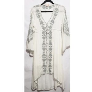Dresses & Skirts - boho white and gray embroidery bell sleeve dress e